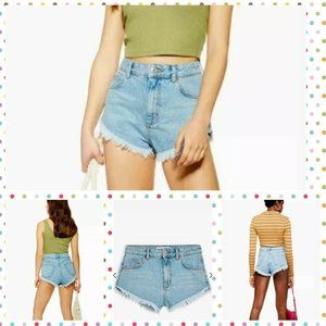 TopShop Denim Kiri High Waisted Frayed Edge Sz 8